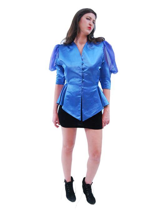 glamor blue sophisticated vintage blouse for 1970s