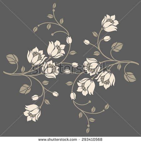 Kacamata Motif Bunga Blue flower motif designvector illustrationluxury style stock vector 293410568