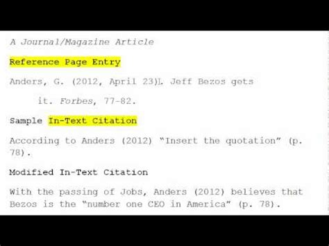 apa format youtube video in text citation how to use apa format for citation no 2 magazine article