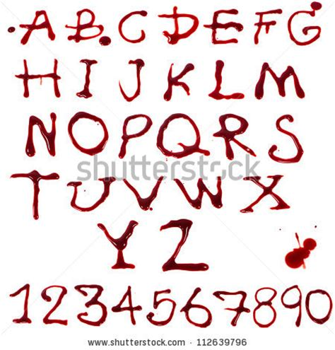 tattoo font blood letters az 110 dripping blood on stock photo 112639796