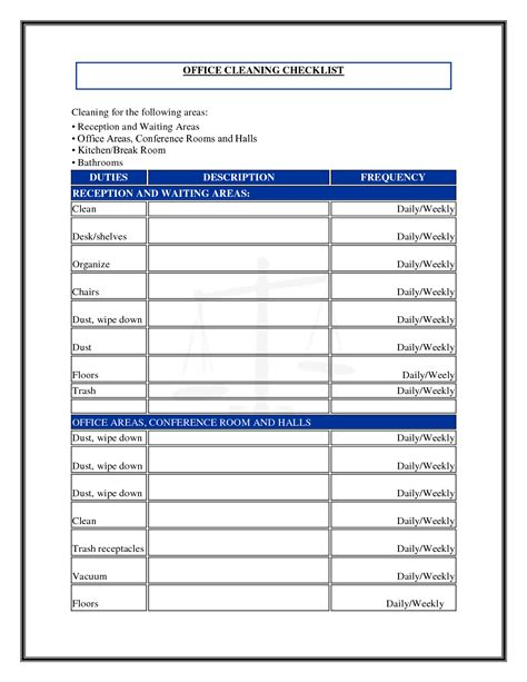 Free Cleaning Template 7 best images of commercial cleaning checklist printable
