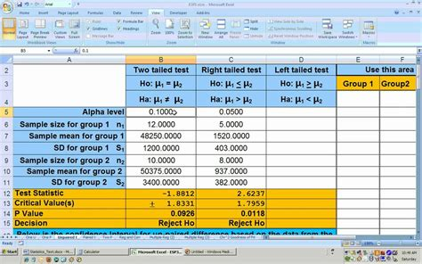 8 2 unpaired t test hypothesis test using excel small