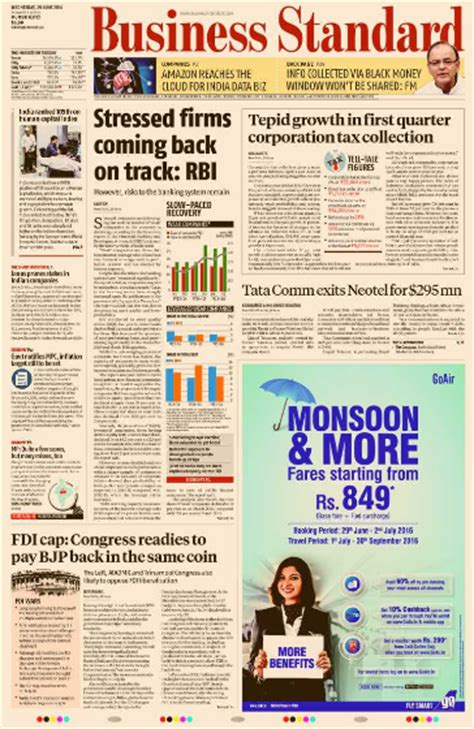 business section of newspaper ads in business standard have a wide reach myadvtcorner