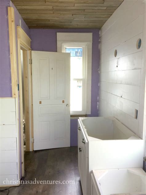bathroom renovation progress ceiling cabinets shiplap
