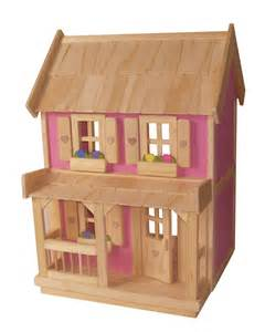 wooden doll house with 7 wood dollhouse furniture