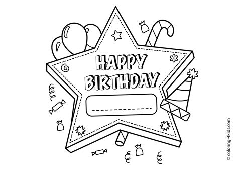 Happy Birthday Printable Star Coloring Pages For Kids Happy Birthday Card Printable Coloring Pages