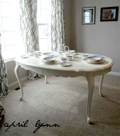 painted white dining table french provincial shabby chic
