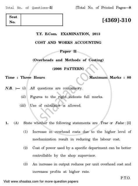 bca question paper pune university question paper cost and works accounting 2 2012 2013