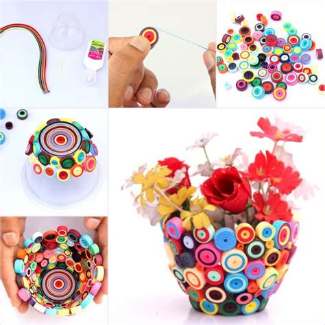 Handmade Craft Ideas Paper Quilling - creative ideas diy bright quilling vase