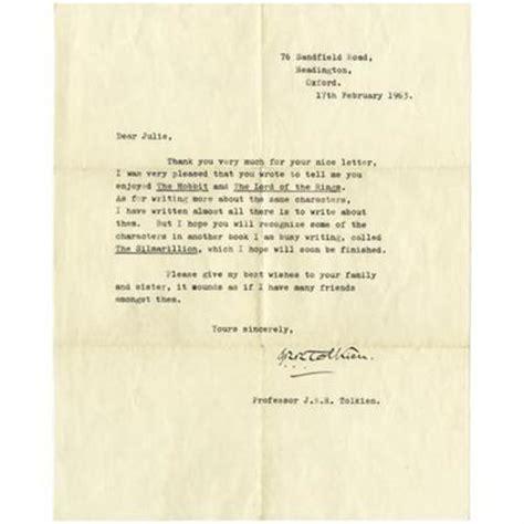 Letter Hobbit j r r tolkien typed letter signed the hobbit