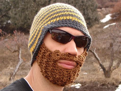 knit beard hat yellow and gray striped bearded beanie
