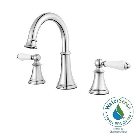 8 bathroom faucet pfister courant 8 in widespread 2 handle bathroom faucet in polished chrome with white handles