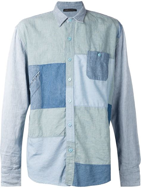 Patchwork Shirts - lyst longjourney denim patchwork shirt in blue for