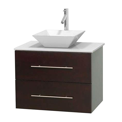 Solid Surface Vanity Top With Sink by Wyndham Collection Centra 30 In Vanity In Espresso With