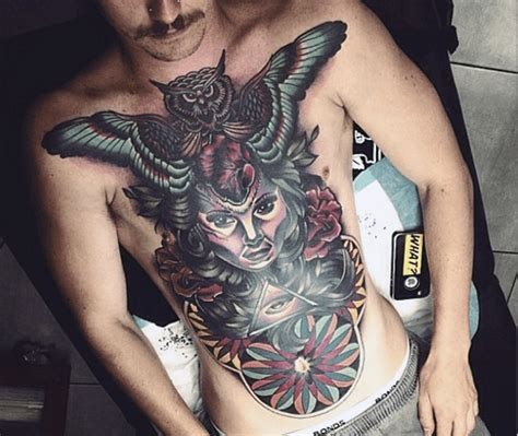 owl chest tattoos for men 70 owl chest designs for nocturnal ink ideas