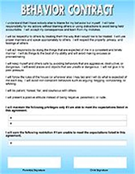 parent child behavior contract template 1000 images about behavior contracts on