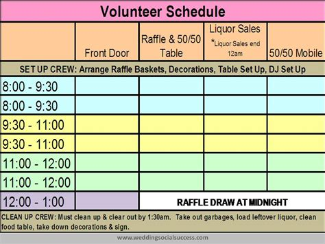 template for volunteer schedule calendar template 2016