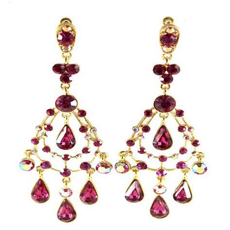 Fuschia Chandelier Earrings Fuschia And Gold Fuschia And Gold Athena Chandelier Earrings And Shoe Couture