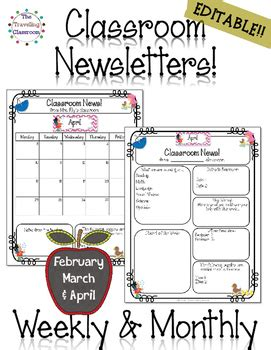 free april newsletter template classroom newsletter templates editable feb april