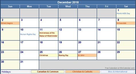 Calendar 2018 With Holidays Canada December 2018 Canada Calendar With Holidays For Printing