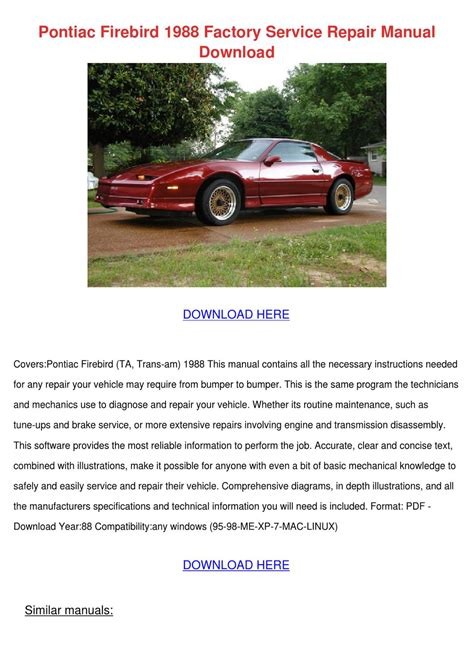 pontiac firebird 1988 factory service repair by lecia szwejbka issuu