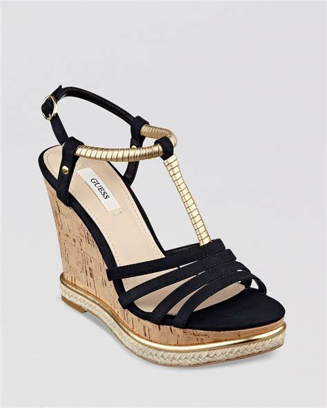 guess wedge shoes guess open toe platform wedge sandals hilary in black lyst