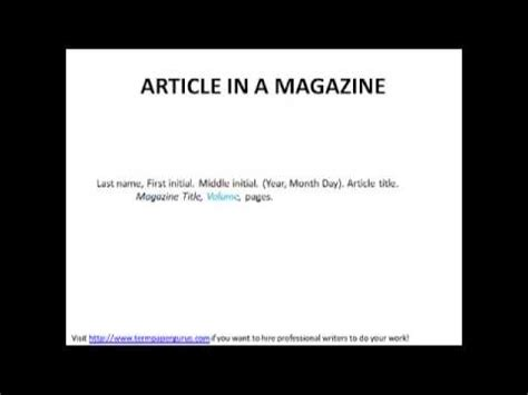 apa format magazine how to cite a magazine article in apa style youtube