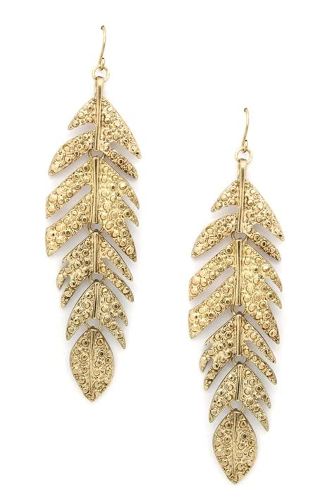 feather earring feather my ear earrings glitter gold