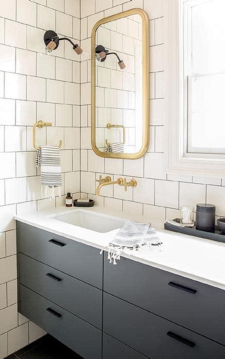 flat bathroom mirror gray floating washstand with brass astoria flat mirror contemporary bathroom