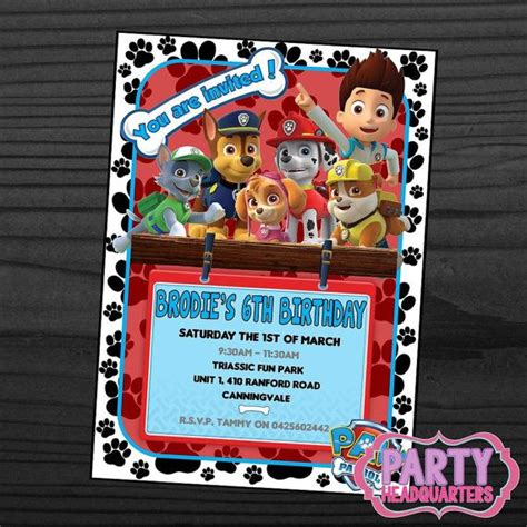 printable birthday invitations paw patrol printable invitation paw patrol birthday party