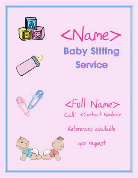 free babysitting flyer templates 21 must free babysitting activities printable flyer