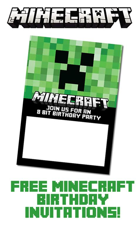 minecraft invitation template free blank birthday invitation template minecraft free