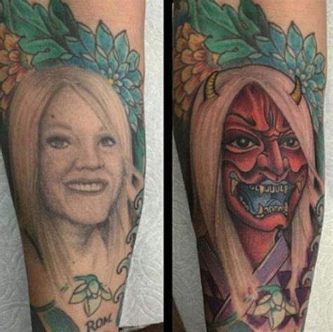 tattoo cover up portrait divorced man covers a tattoo of his ex wife s face by