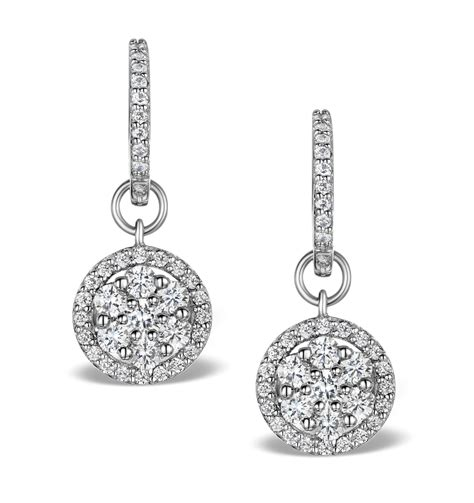 Drop Earring halo drop earrings florence 1 50ct in 18k