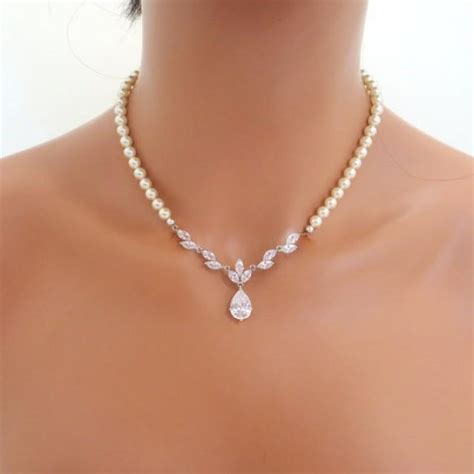 braut collier pearl bridal necklace set crystal wedding necklace