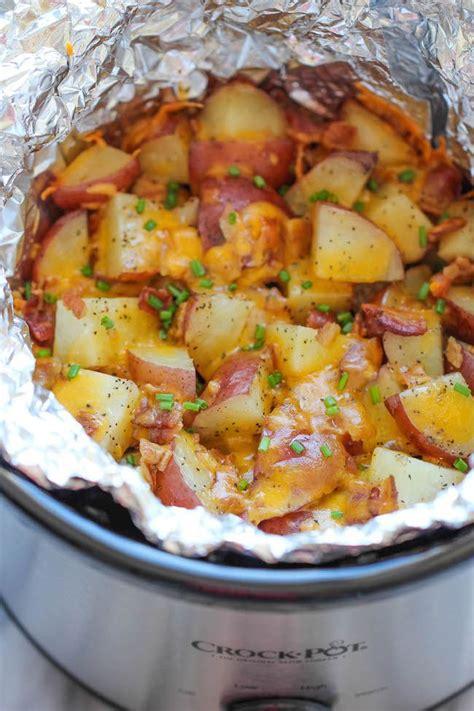 potatos egg slow cooked cooker cheesy bacon ranch potatoes