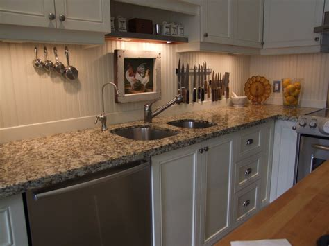 beadboard backsplash trim it with rustic wood slats