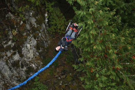 Bungee Jumping Chair - paraplegic bungee jumps in wheelchair for disability