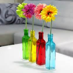 Glass Flowers In Vase Aliexpress Buy European 4 Color Glass Bottle Flower