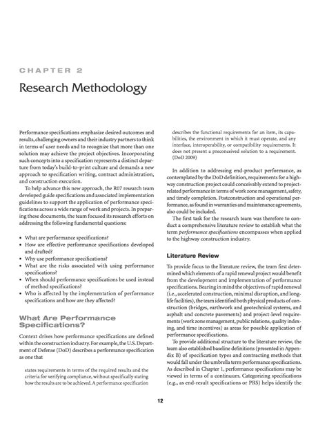 Product Design Literature Review by Chapter 2 Research Methodology Performance Specifications For Rapid Highway Renewal The