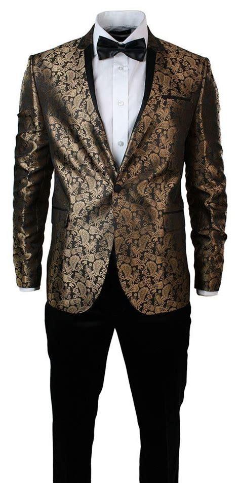 Ats Kemeja Slim Fit Casual Ac Milan Black Maroon Limited Edition mens slim fit gold black paisley suit tuxedo wedding