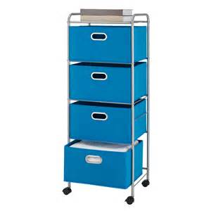 bintopia 4 drawer fabric storage cart solid blue free