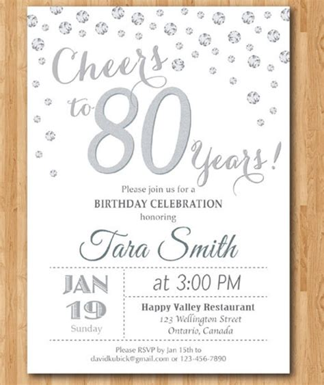 Happy 80th Birthday Card Template by 21 80th Birthday Invitations Free Psd Vector Eps Ai