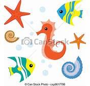 Clip Art De Vectores Vida Conjunto Caricatura Mar