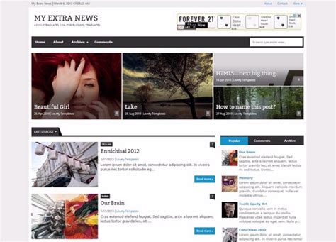 templates for my blogger my extra news blogger template lovely templates