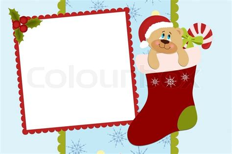 template for baby s xmas photo album or postcard stock