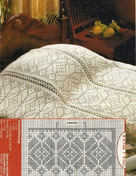 copriletto filet schemi crochet filet bedspread with diagram copriletto a filet