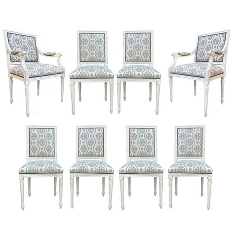 french style dining room chairs set of eight 20th century french louis xvi style cream