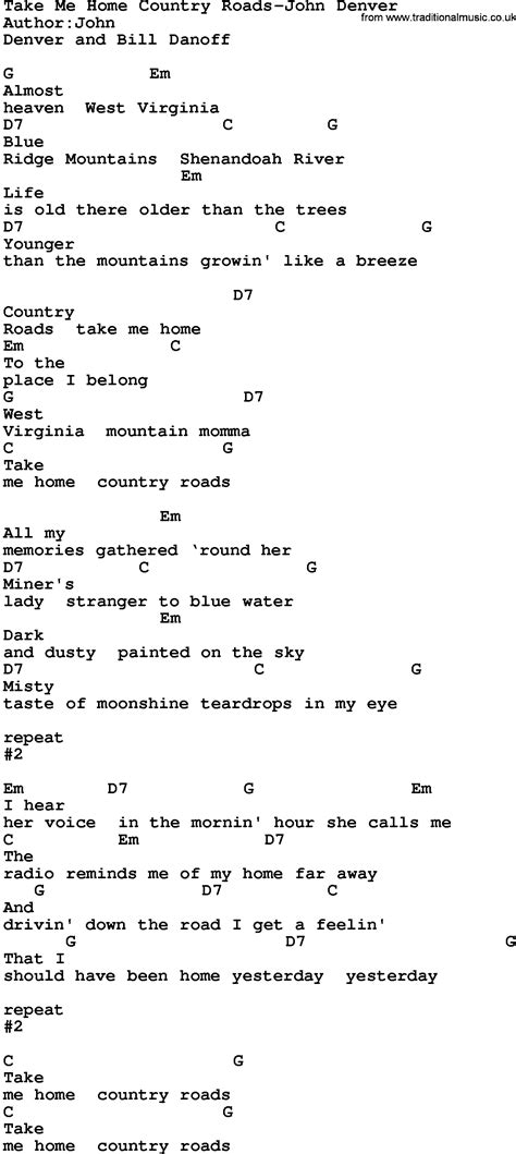 printable lyrics country roads john denver country music take me home country roads john denver