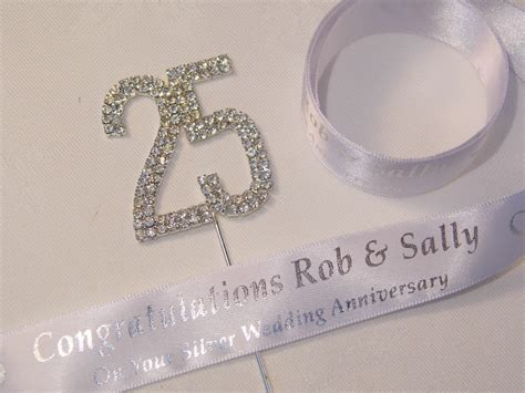 Silver wedding Anniversary Cake Topper & Ribbon